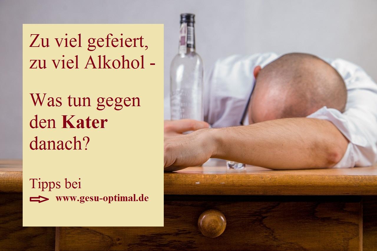 Kater nach zu viel Alkohol - Was tun
